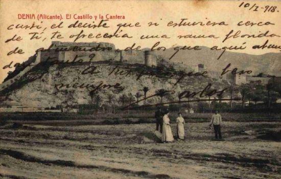 Postal de la cantera y el castillo de Denia