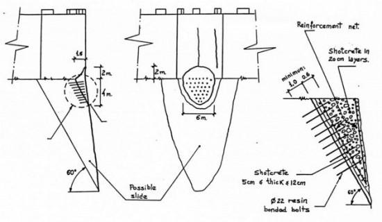 Esquema del Recalce de la Torre Norte del Castillo de Denia