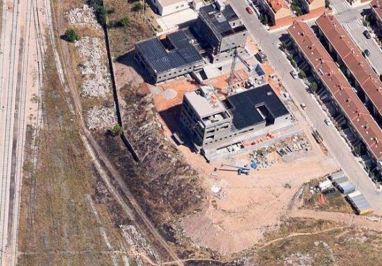 Vista aérea de las obras sobre rellenos de la Ronda San José, en Cuenca