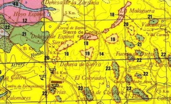 Detalle de la hoja 596 – Moraleja de la cartografía 1:50.000 del IGME (el deslizamiento está en el centro de la imagen)