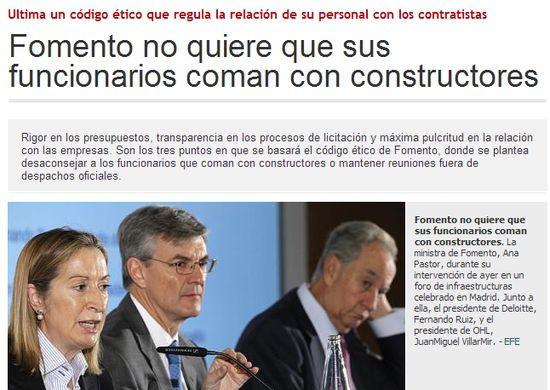 El Ministerio de Fomento no quiere que sus funcionarios coman con constructores
