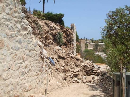 rotura de un muro de contención