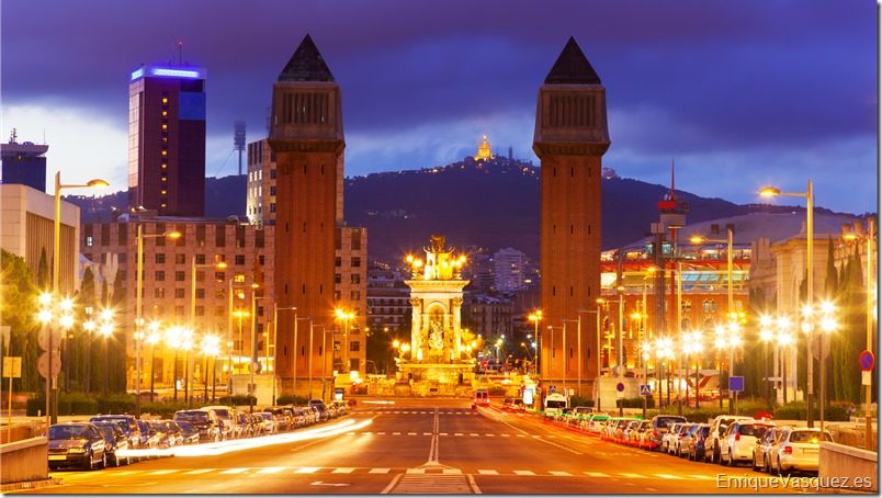 View of Spain square at Barcelona in night