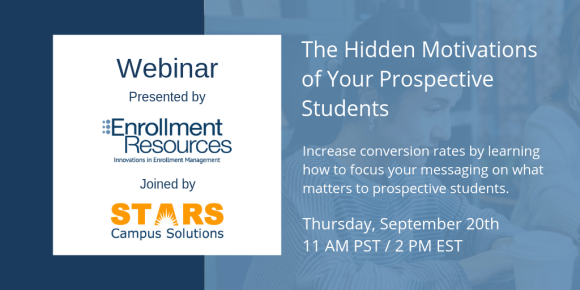 """Register for our webinar """"The Hidden Motivations of Your Prospective Students"""" today!"""
