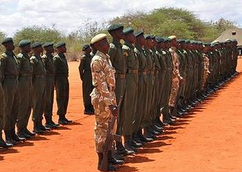 Kenya Wildlife Service rangers line up for inspection (Photo courtesy KWS)