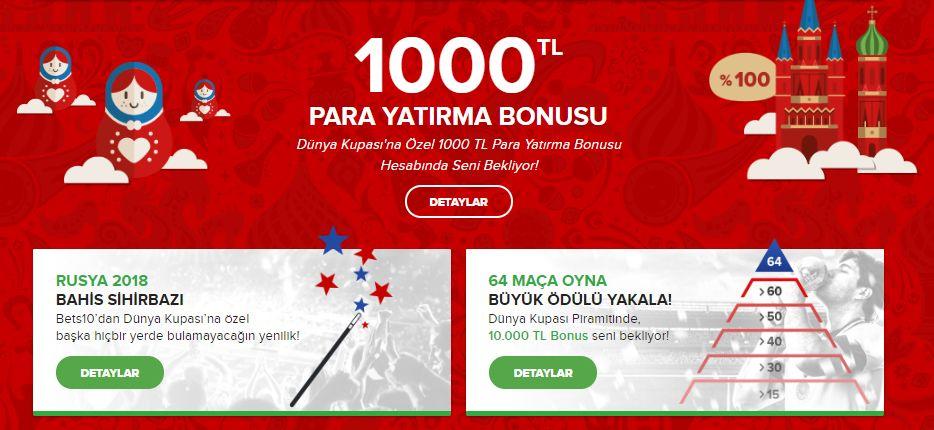 BETS10 Dünya Kupası'na Özel 1000 TL Para Yatırma Bonusu