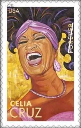 Celia Cruz  inmortalizada  en  colección de sellos postales