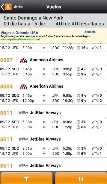 Lista de vuelos
