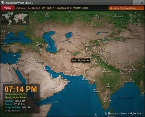 Mapa mundial de horas y husos horarios