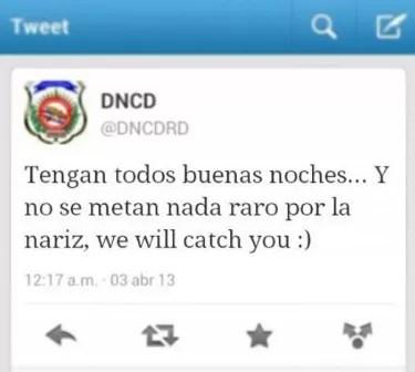 Algo raro pasó anoche con la cuenta de la DNCD en Twitter