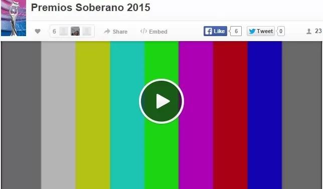 Transmisión de Premios Soberano en vivo