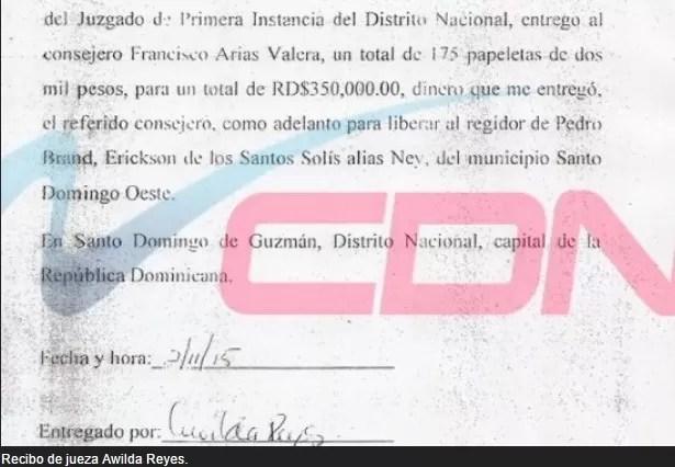El recibo del soborno…. $350mil pesos