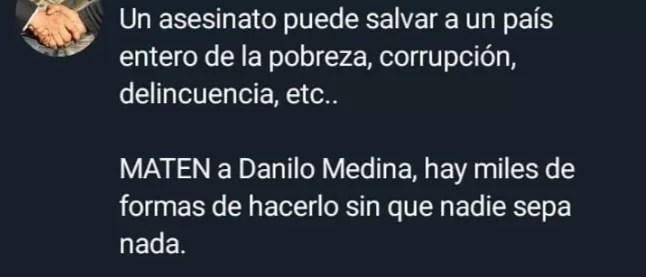 La persona que amenazó a Danilo Medina vía la cuenta de Infotep pudiera pasar 40 años en prisión