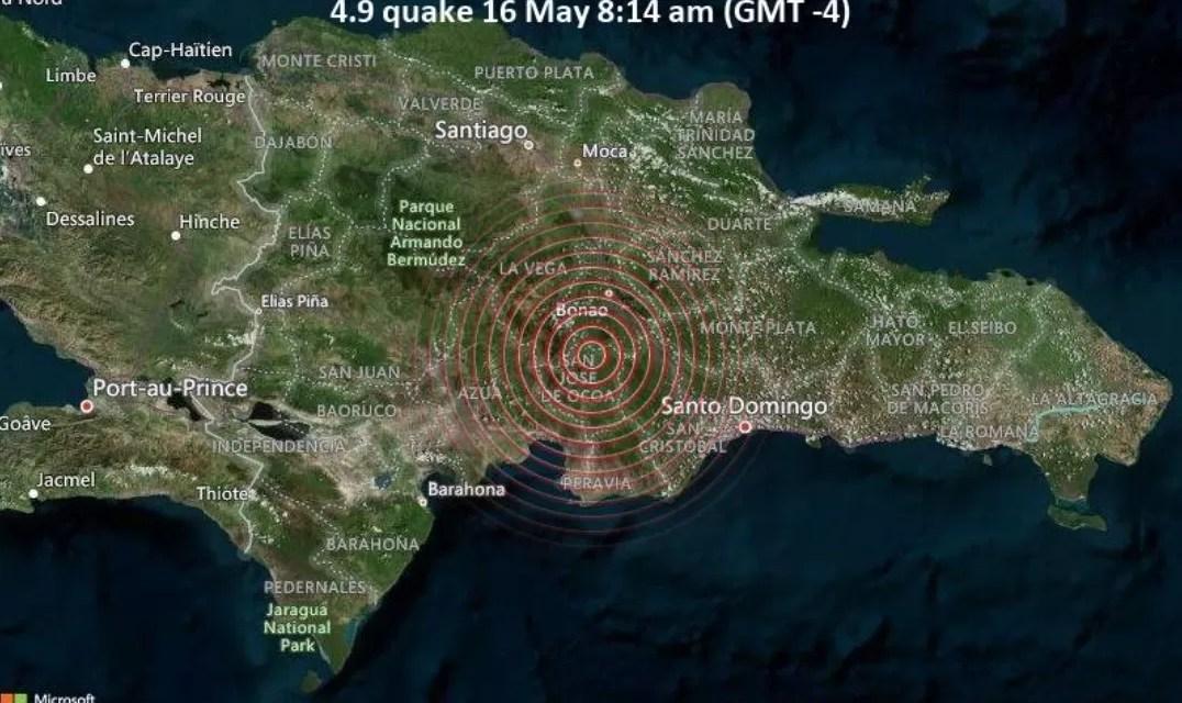 Temblor de tierra en RD: 4.7 grados, se produjo cerca de Piedra Blanca