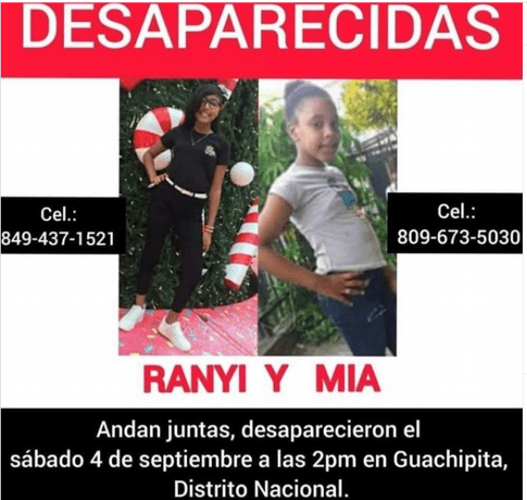 Aparecen en Nagua las dos niñas desaparecidas en Guachupita