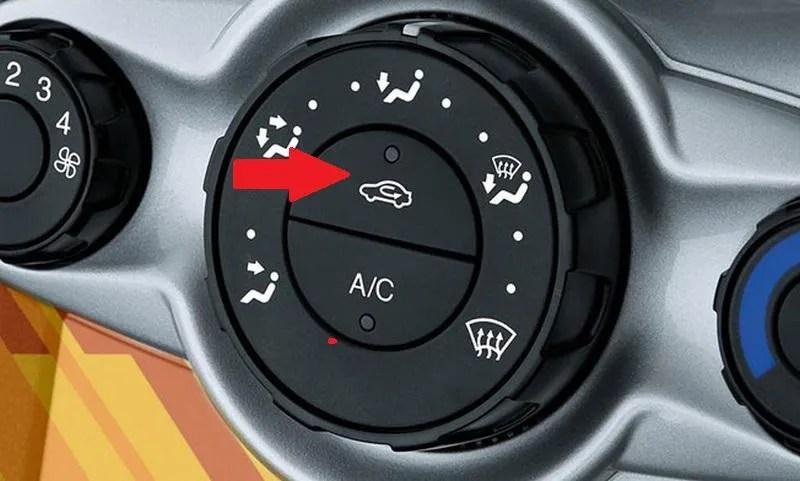 La función real del botón de recirculación del aire