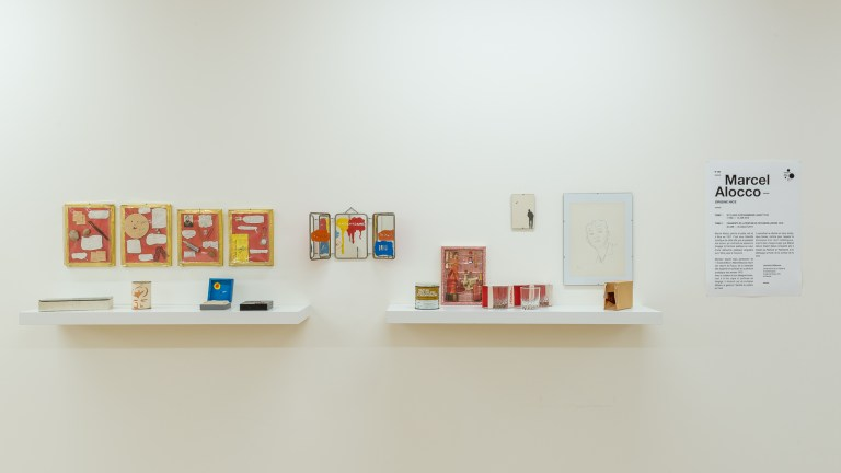 Vue de l'exposition, Marcel Alocco : Origine Nice.Tome 1 : de Fluxus à Idéogrammaire (avant 1974). Photographie: © Grégory Copitet – Enseigne des Oudin