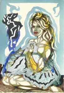 """Dominique Digeon, """"Brigitte Bardot"""", carte postale coupée et grattée, circa 2018."""