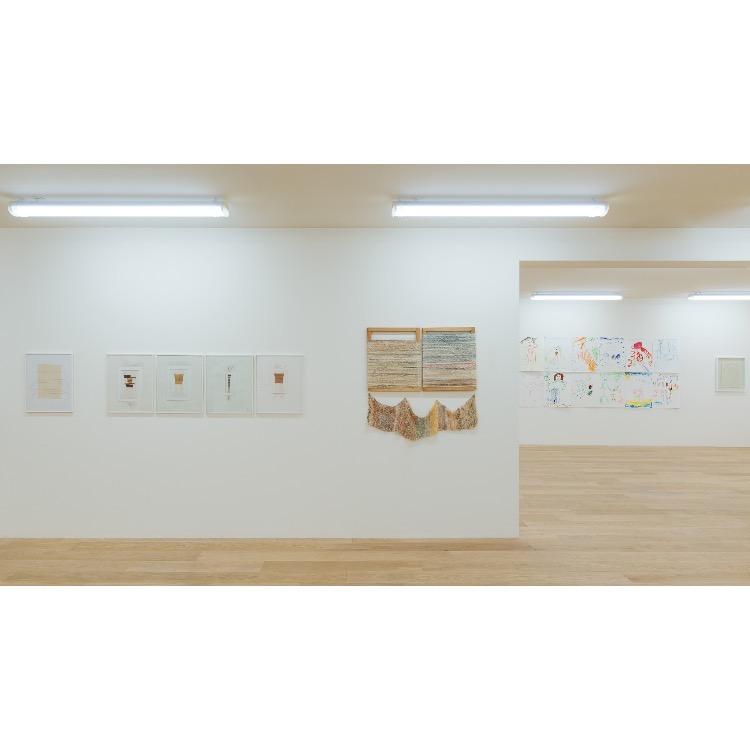 """Vue de l'exposition """"Marcel Alocco : Origine Nice. Tome 2 : fragments de la Peinture en Patchwork (depuis 1974)"""" avec de droite à gauche :   """"La Peinture en patchwork, « Equevilles »"""", fils de l'année 1987, 1987-1989, Tricotés, et des années 1988-1989 embobinés sur châssis,  """"Tissage cheveux n°37"""", 1997, """"Tissage cheveux n°23"""", 1995, """"Tissage cheveux n°24"""", 1995, """"Tissage cheveux n°27"""", 1995, """"Tissage cheveux n°731"""", 1997. Photographie : © Grégory Copitet - Enseigne des Oudin"""