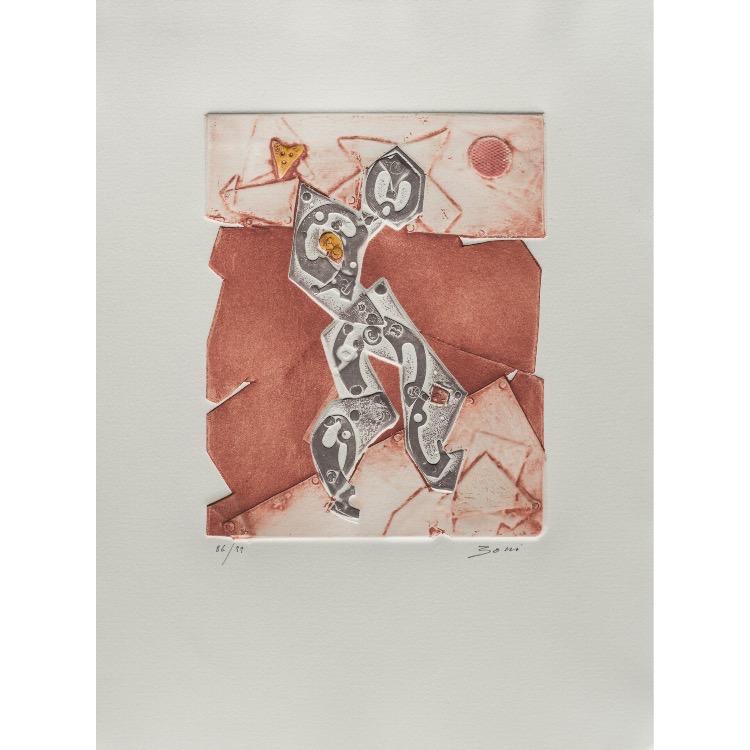 Paolo Boni, gravure  numérotée et signée par l'artiste. Tirage à 120 exemplaires numérotés sur papier vélin d'Arches. [Paris : Espace Latino-Américain, 1985]. Photographie : Véronique Huyghe