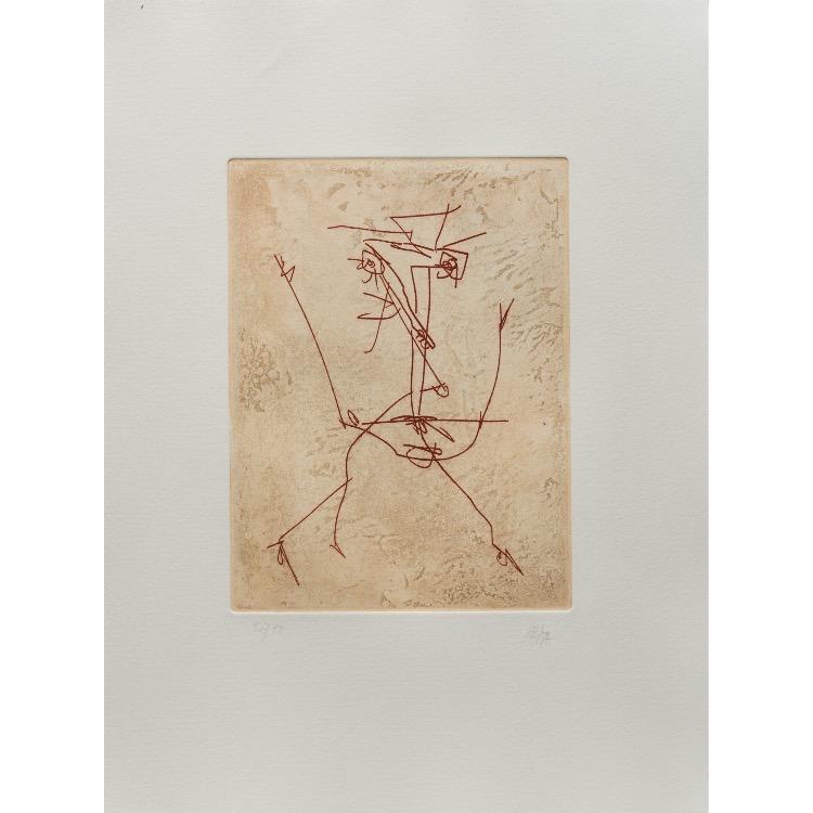 Antonio Saura, gravure  numérotée et signée par l'artiste. Tirage à 120 exemplaires numérotés sur papier vélin d'Arches. [Paris : Espace Latino-Américain, 1985]. Photographie : Véronique Huyghe