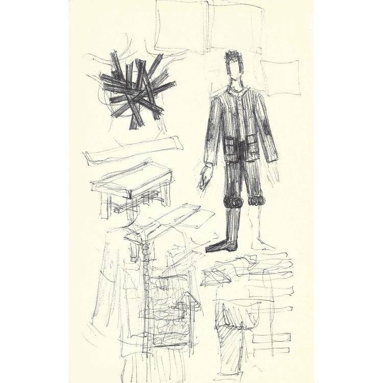 Henri Ughetto, Pages de carnet, d'une série de 35 pages de carnet, biographie, projets, dessins sur papier, 1962. Photo: Enseigne des Oudin.