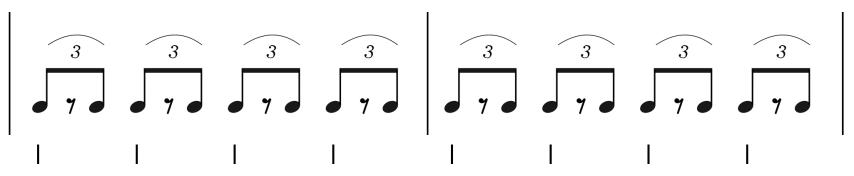 """Schéma du shuffle avec des triolets pour l'article """"Le Shuffle : Un Essentiel de la Rythmique"""""""