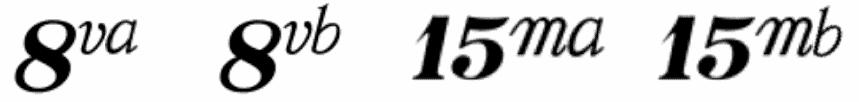 """Liste des symboles d'octaviation pour l'article """"Comment Développer Le Déchiffrage Au Piano 1/2"""""""