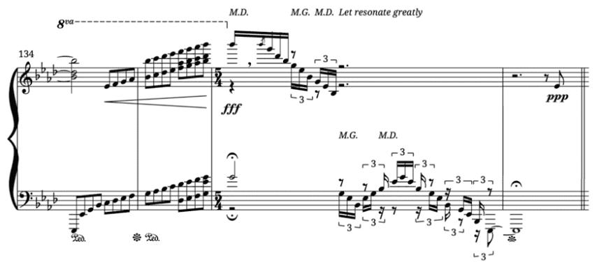 """Exemple d'une partition mélangeant Clé de Sol et Clé de Fa pour une ligne mélodique pour l'article """"Comment Développer Le Déchiffrage Au Piano 1/2"""""""