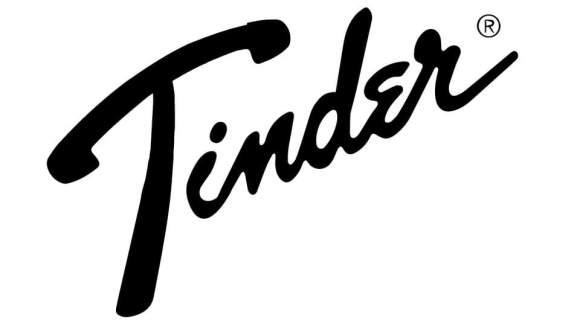 """Logo jeu de mot entre Fender et Tinder pour l'article """"Jouer En Groupe"""""""