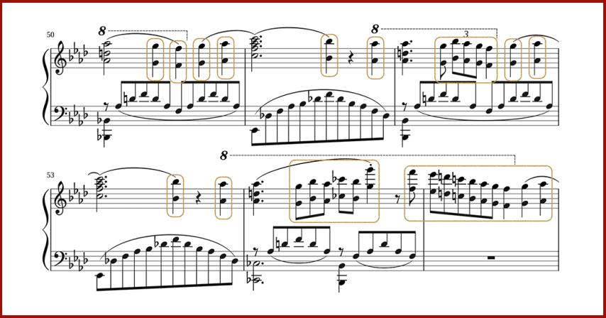 """Exemples d'accords d'octave à la main droite en Clé de Sol sur une partition de piano pour l'article """"Les Accords d'Octave"""""""