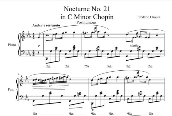 """Partition Nocturne No. 21 en Do mineur de Chopin pour l'article """"Les Altérations En Musique"""""""