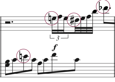 """Altérations accidentelles entourées sur une mesure pour l'article """"Les Altérations En Musique"""""""