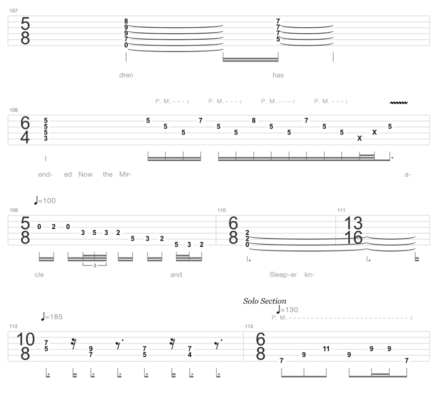 "Extrait de la tablature de Metropolis Part1: The Miracle And The Sleeper de Dream Theater pour l'article ""La Signature Rythmique"""