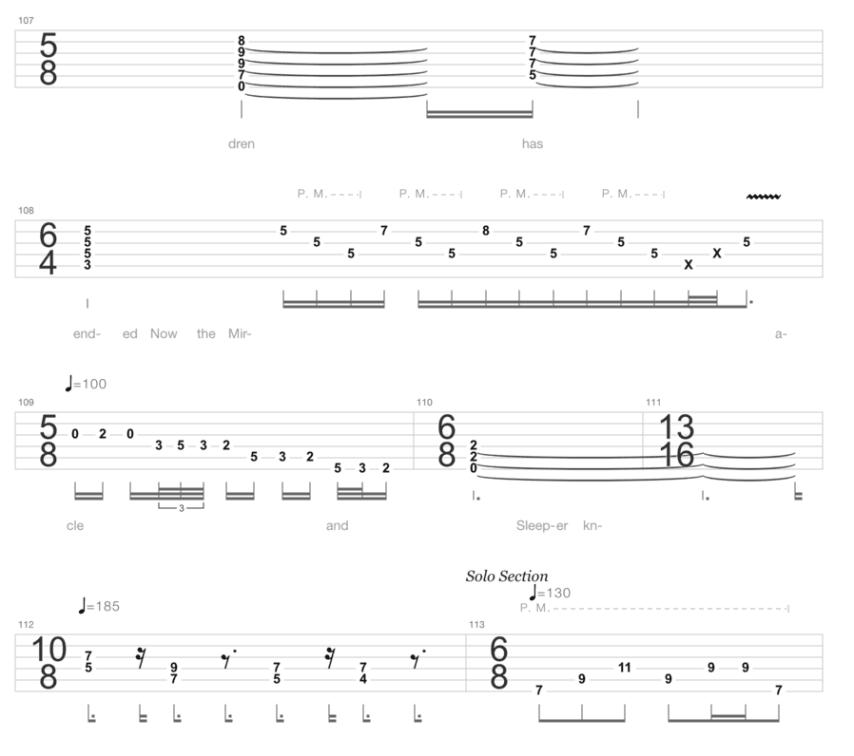 """Extrait de la tablature de Metropolis Part1: The Miracle And The Sleeper de Dream Theater pour l'article """"La Signature Rythmique"""""""
