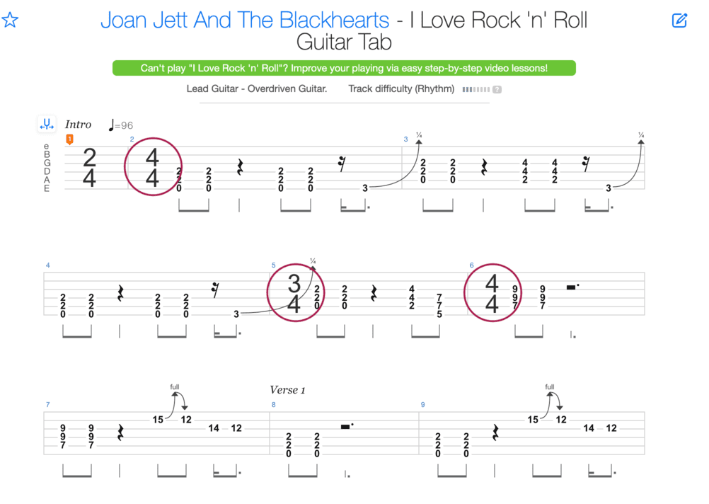 "Extrait de la tablature de I Love Rock 'n' Roll de Joan Jett And The Blackhearts pour l'article ""La Signature Rythmique"""