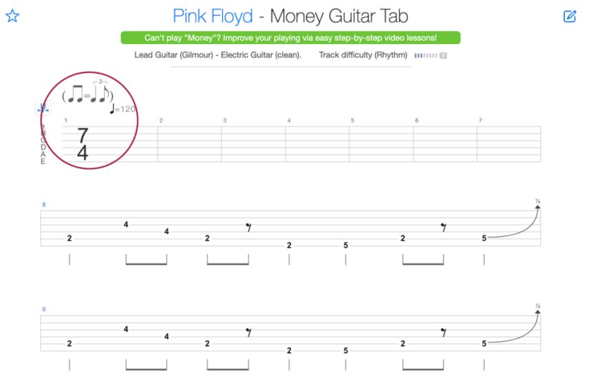 """Extrait de la tablature de Money de Pink Floyd pour l'article """"La Signature Rythmique"""""""