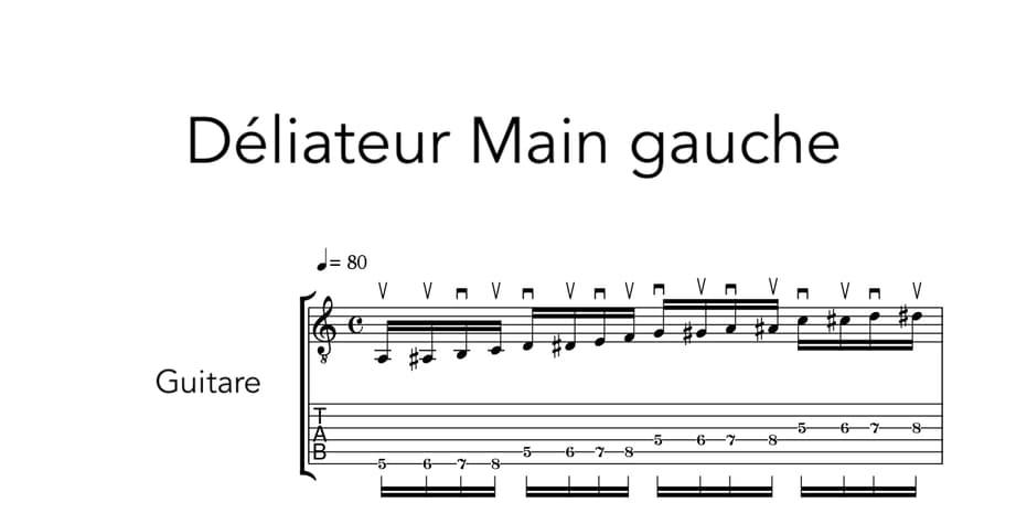 """Extrait d'exercice pour délier les doigts à la main gauche pour l'article """"Les Arpèges À La Guitare"""""""
