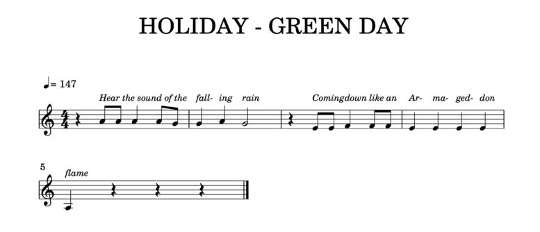 """Mélodie de Holiday de Green Day transposée en La mineur pour l'article """"3 Exercices Pour s'Entraîner À La Dictée Musicale"""""""