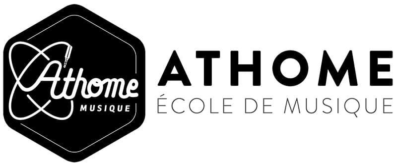 """Logo de l'école de musique Athome Musique pour l'article """"Devenir Libre Financièrement En Musique"""""""
