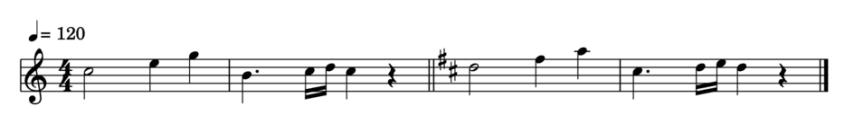 """Réécriture transposée d'une mélodie en Ré Majeur pour une clarinette Sib pour l'article """"La Transposition En Musique"""""""
