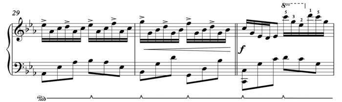 """Extrait de Anni's Ballad de Patrik Pietschmann avec représentation de la pédale pour l'article """"Les Pédales Du Piano"""""""