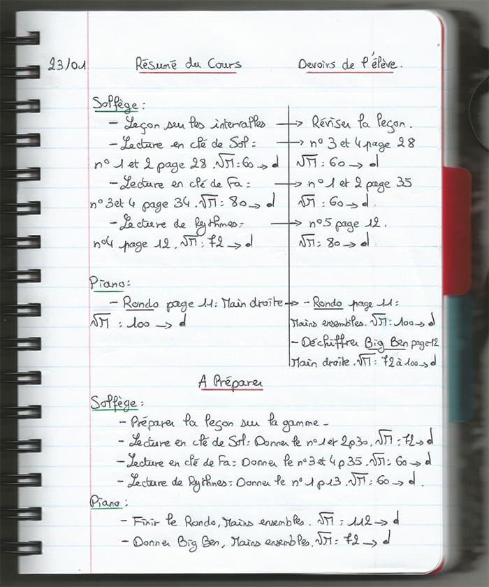 """Exemple de cahier pour l'article """"3 habitudes pour être un professeur de musique zen"""""""