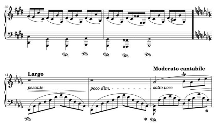"""Exemple d'une double-barre de séparation dans la Fantaisie Impromptu de Chopin pour l'article """"la mesure en musique"""""""
