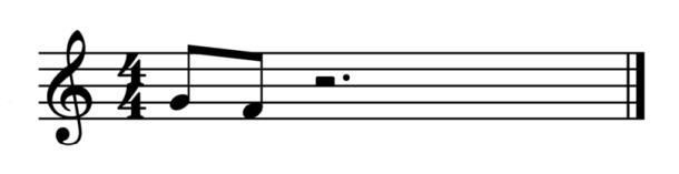 """2 croches pour représenter une appogiature longue croche sur noire pour l'article """"l'appogiature en musique"""""""