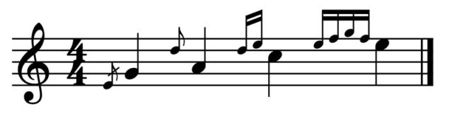 """Exemple de différentes appogiatures pour l'article """"l'appogiature en musique"""""""