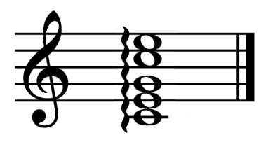 """Exemple d'un accord de Do Majeur arpégé sur une portée pour l'article """"Arpège Piano"""""""