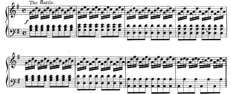 """Exemple d'un motif de basse d'Alberti mais à la mélodie sur le morceau The Battle Of Waterloo pour l'article """"Arpège Piano"""""""