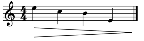 """Exemple d'un decrescendo étalé sur 4 notes pour l'article """"Les Nuances en musique"""""""