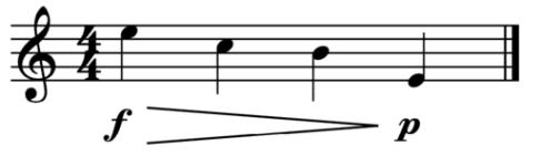 """Exemple de decrescendo avec forte au départ et piano à l'arrivée pour l'article """"Les Nuances en musique"""""""